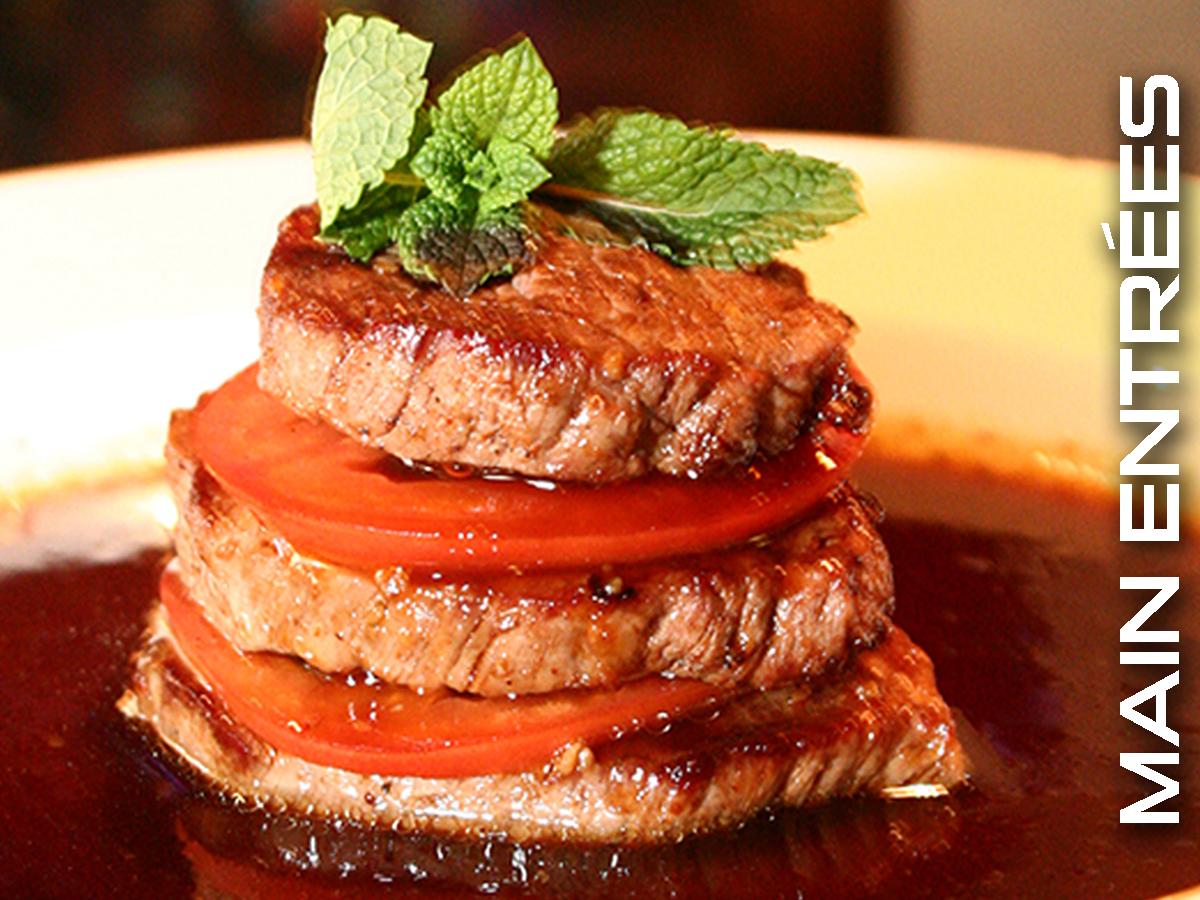 Main course entrées at UMI Japanese Steakhouse