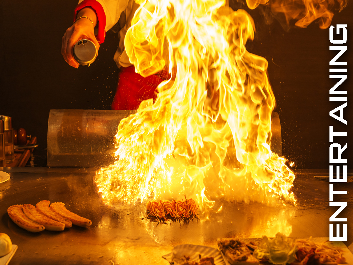 Chefs prepare the meal right in front of you at UMI Japanese Steakhouse